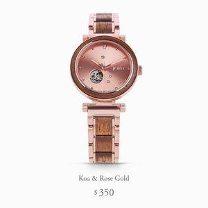 Koa Wood Rose Gold Jord Cora Polaris Watch women's